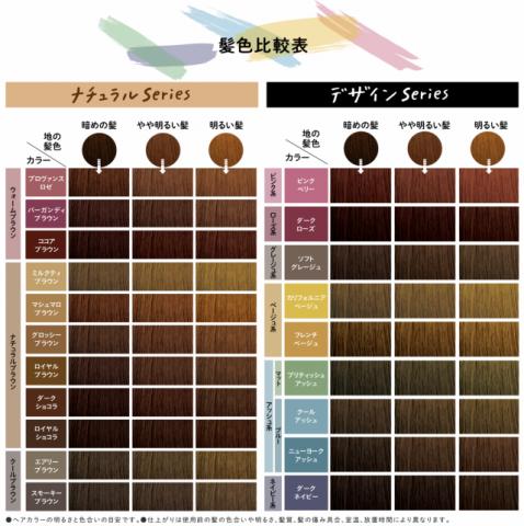 リーゼ泡カラー髪色比較表
