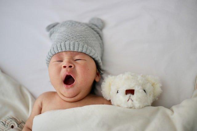 赤ちゃんがぬいぐるみと寝ている